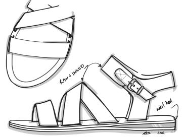 Metal Heel Flash Flat Sandal